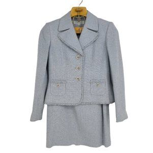 Tahari ASL Tweed Skirt Suit Fringe Size 6